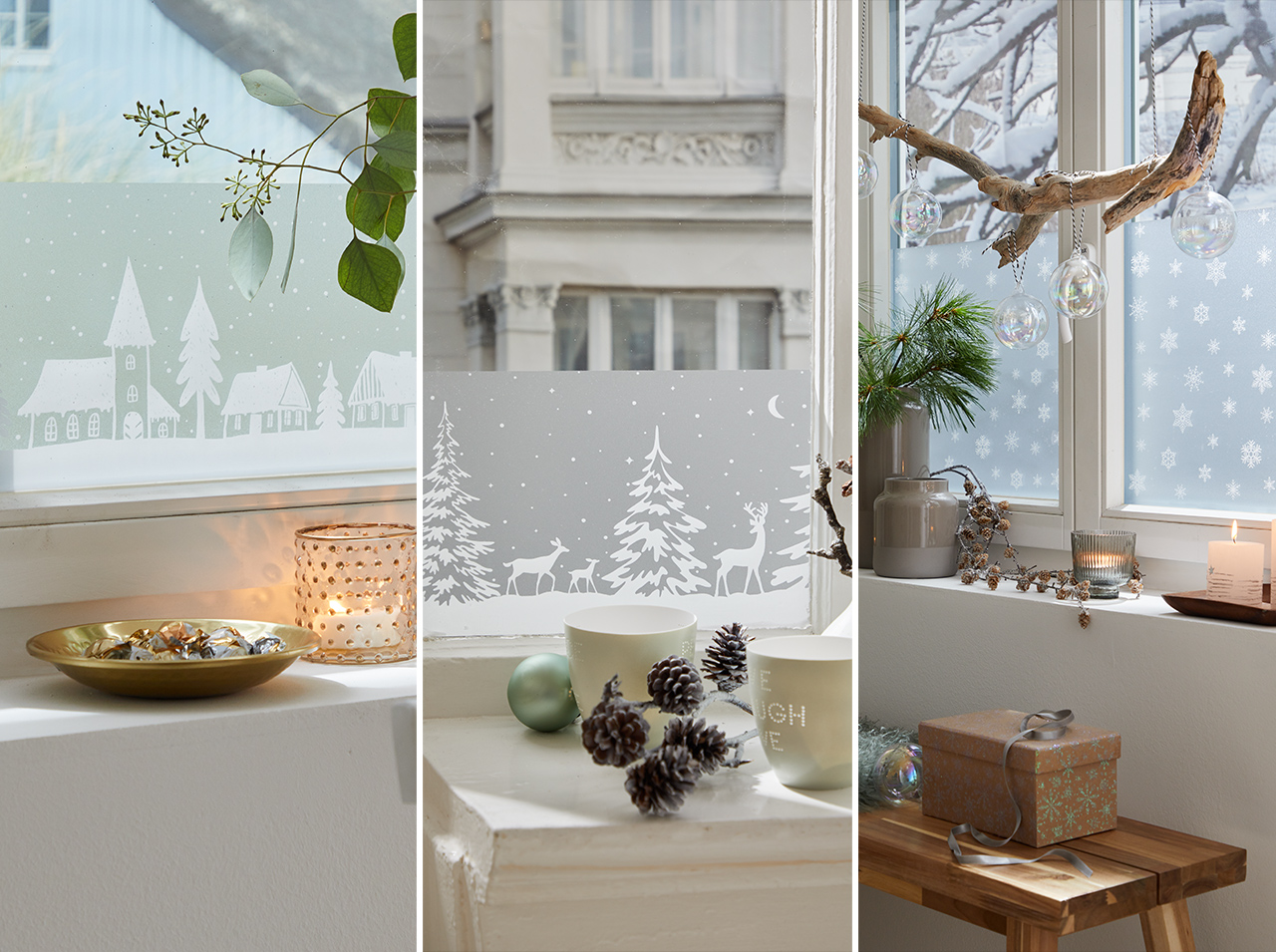 dcfix window glass window film DIY decoration living room winter Christmas