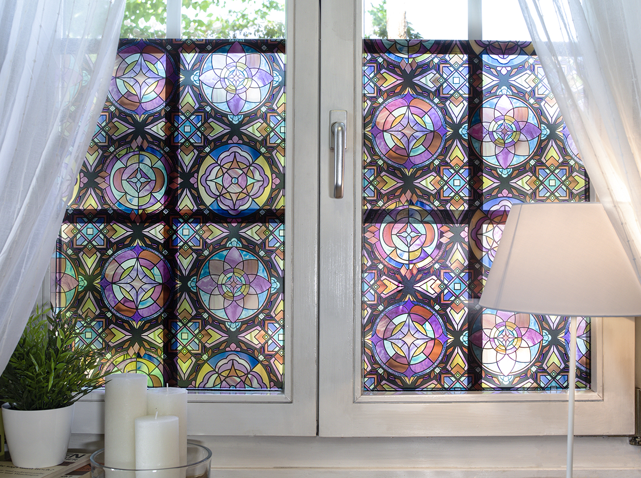 Window surfaces with d-c-fix® Static Premium Lancaster protective film in a colorful mosaic glass art look.